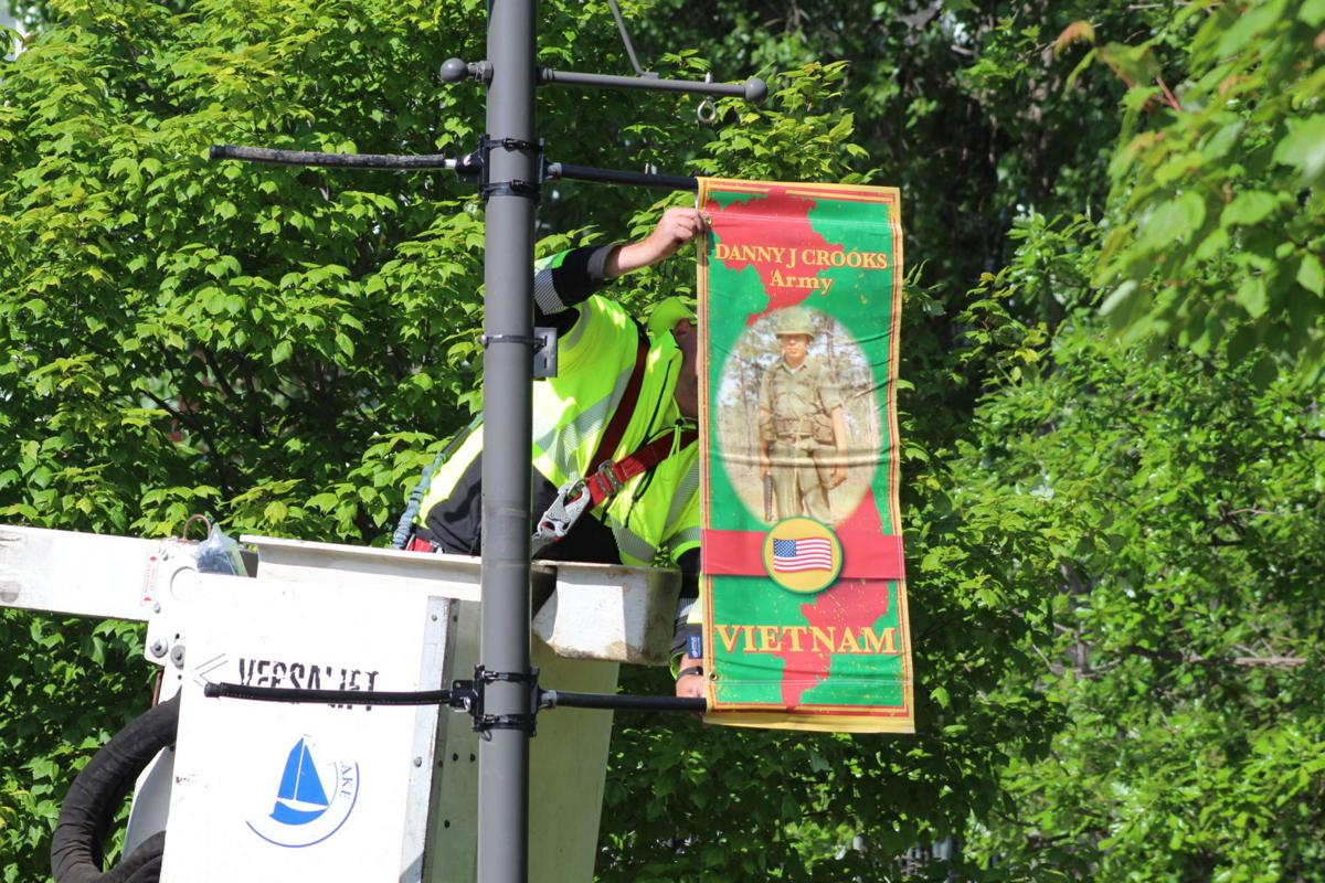 Hanging VFW banners
