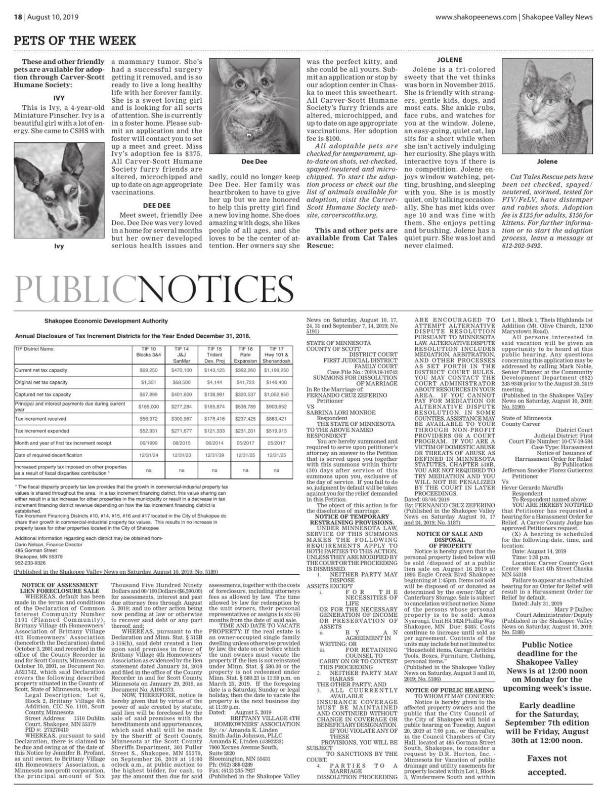 Public notices from the August 10, 2019 Shakopee Valley News