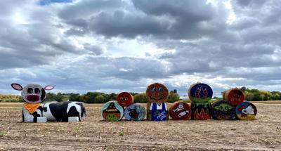 Painted hay bales