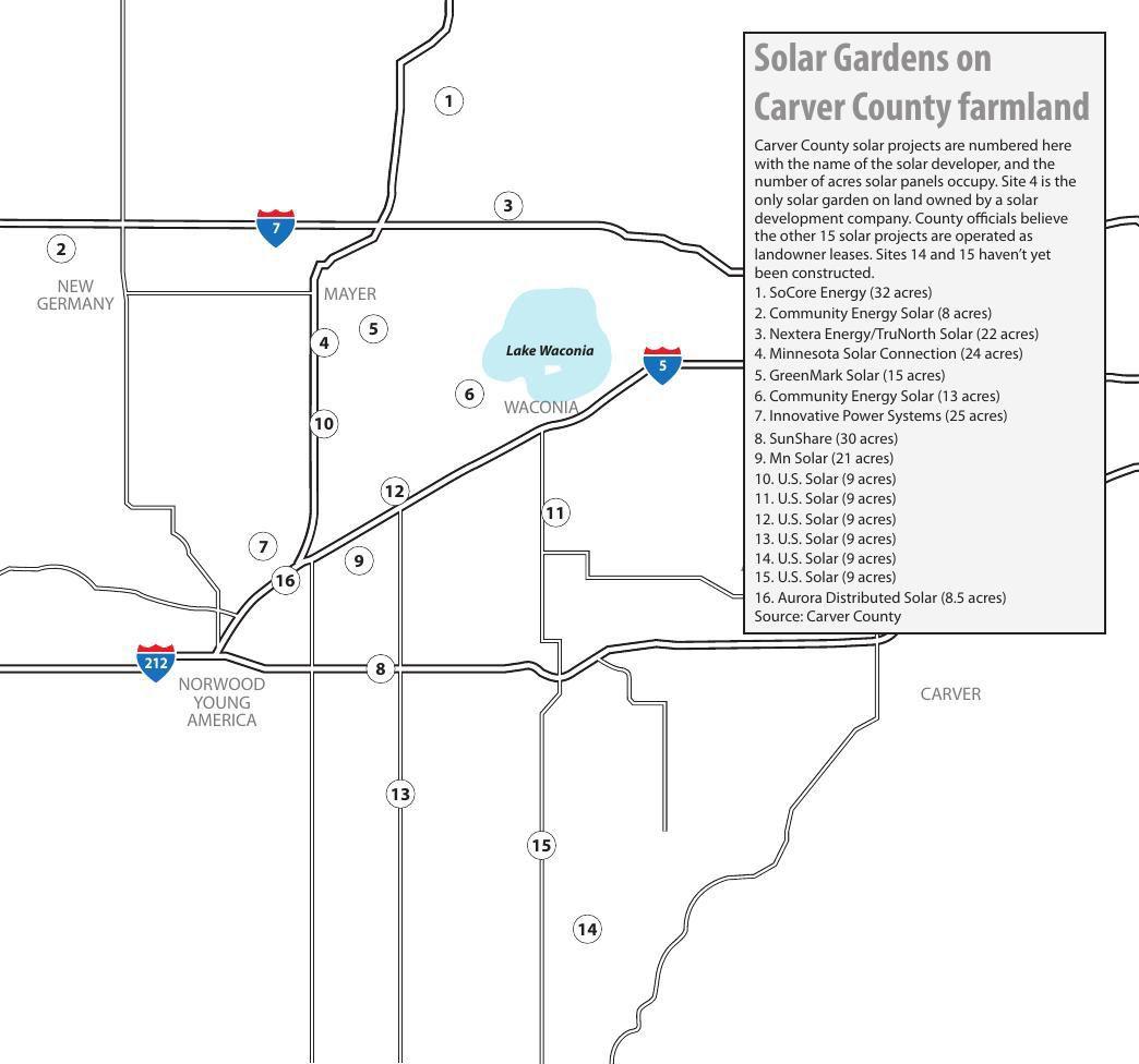 Community solar gardens on farmland in Carver County