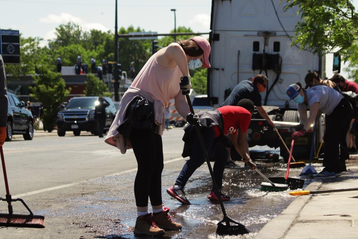 Wells Fargo riot clean up