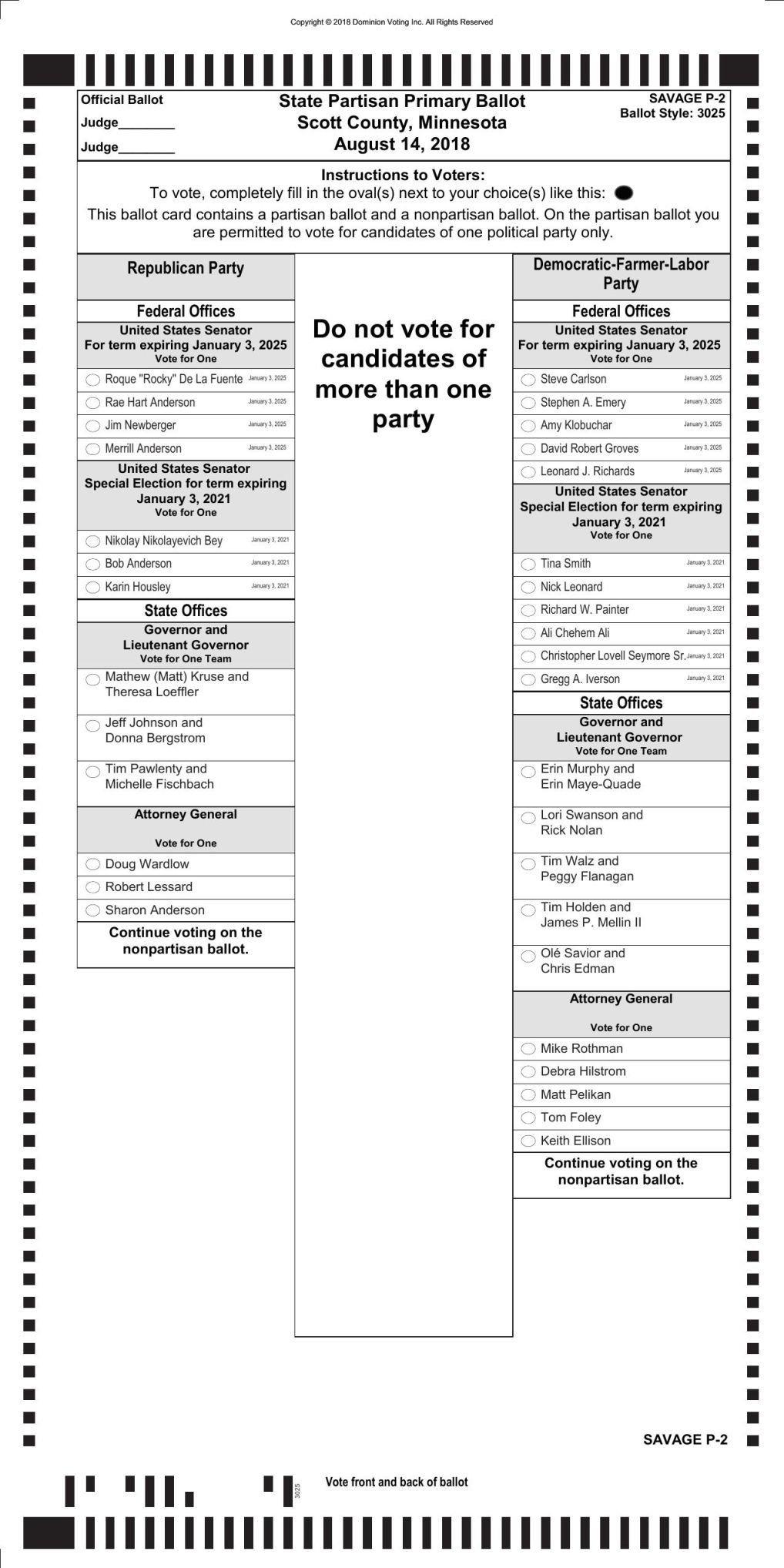 primary election ballot sample