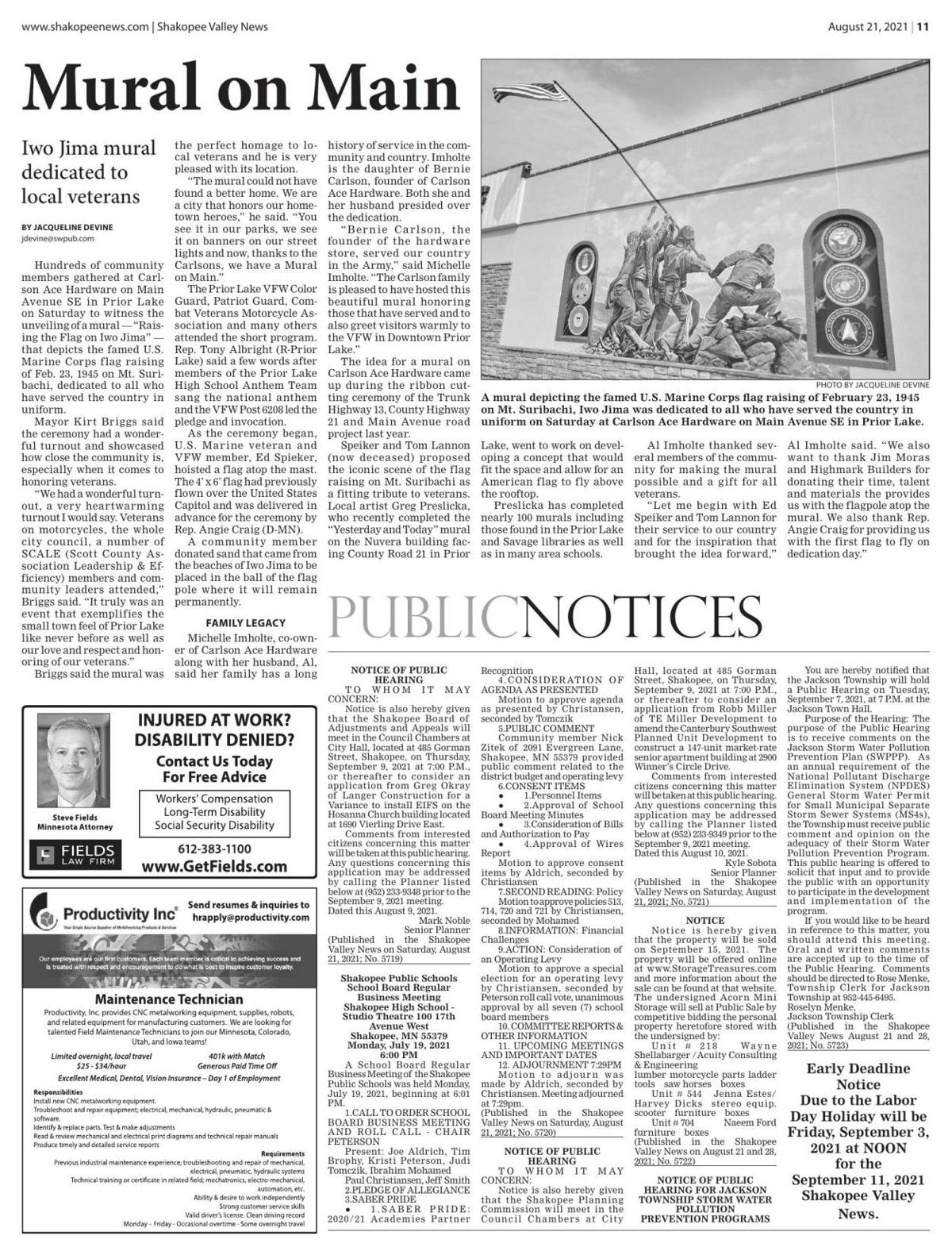 Public notices from the August 21, 2021 Shakopee Valley News