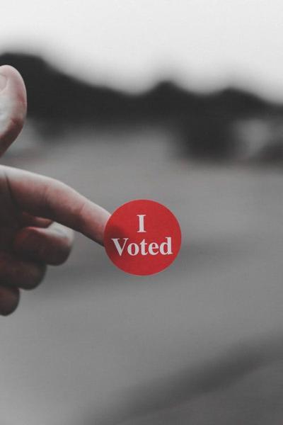 I Voted sticker election voting