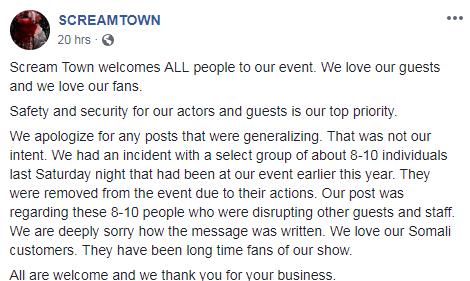 Scream Town apology