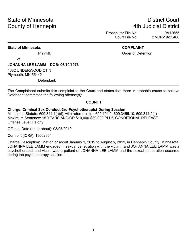 Johanna Lamm criminal complaint