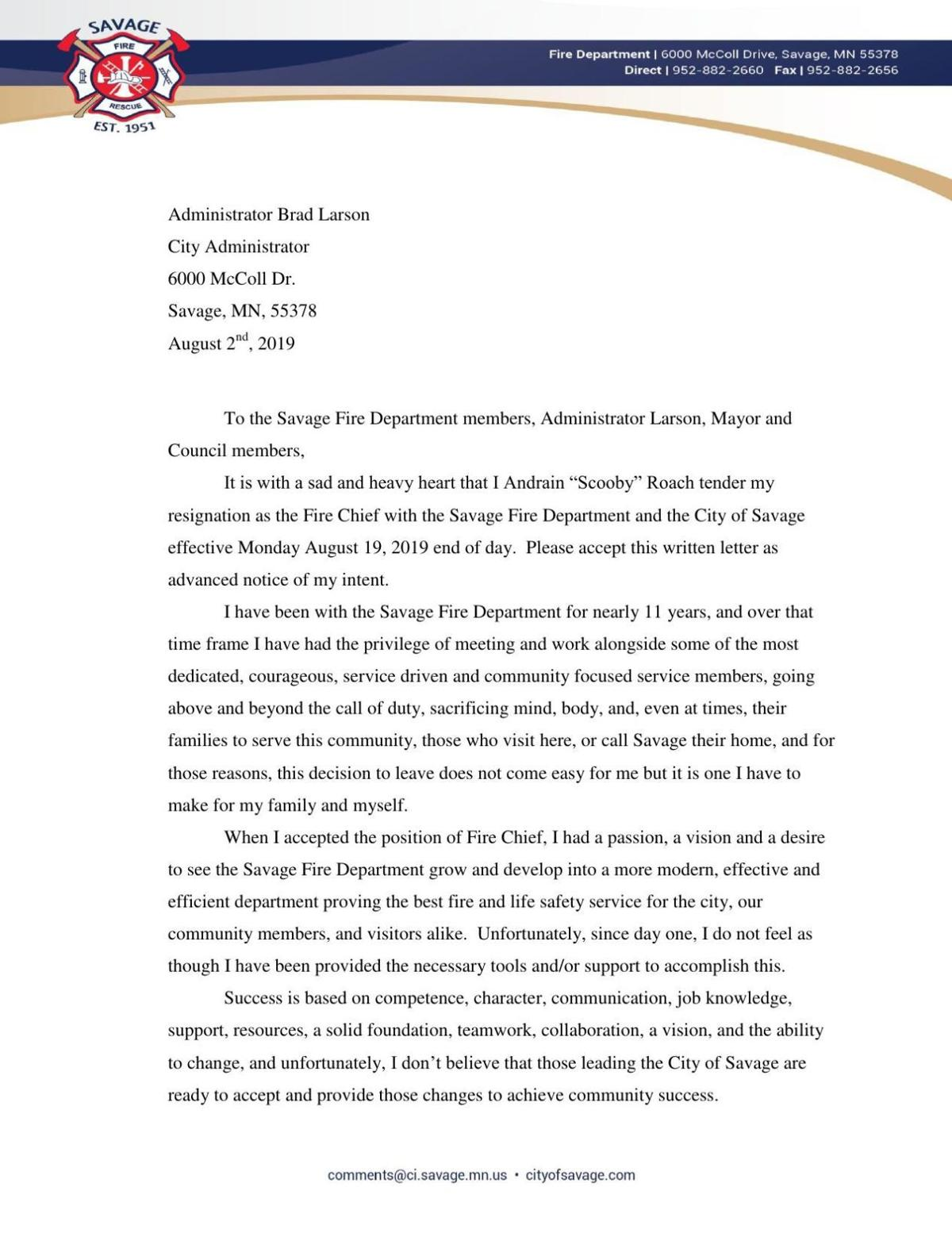 Andrain Road Resignation Letter