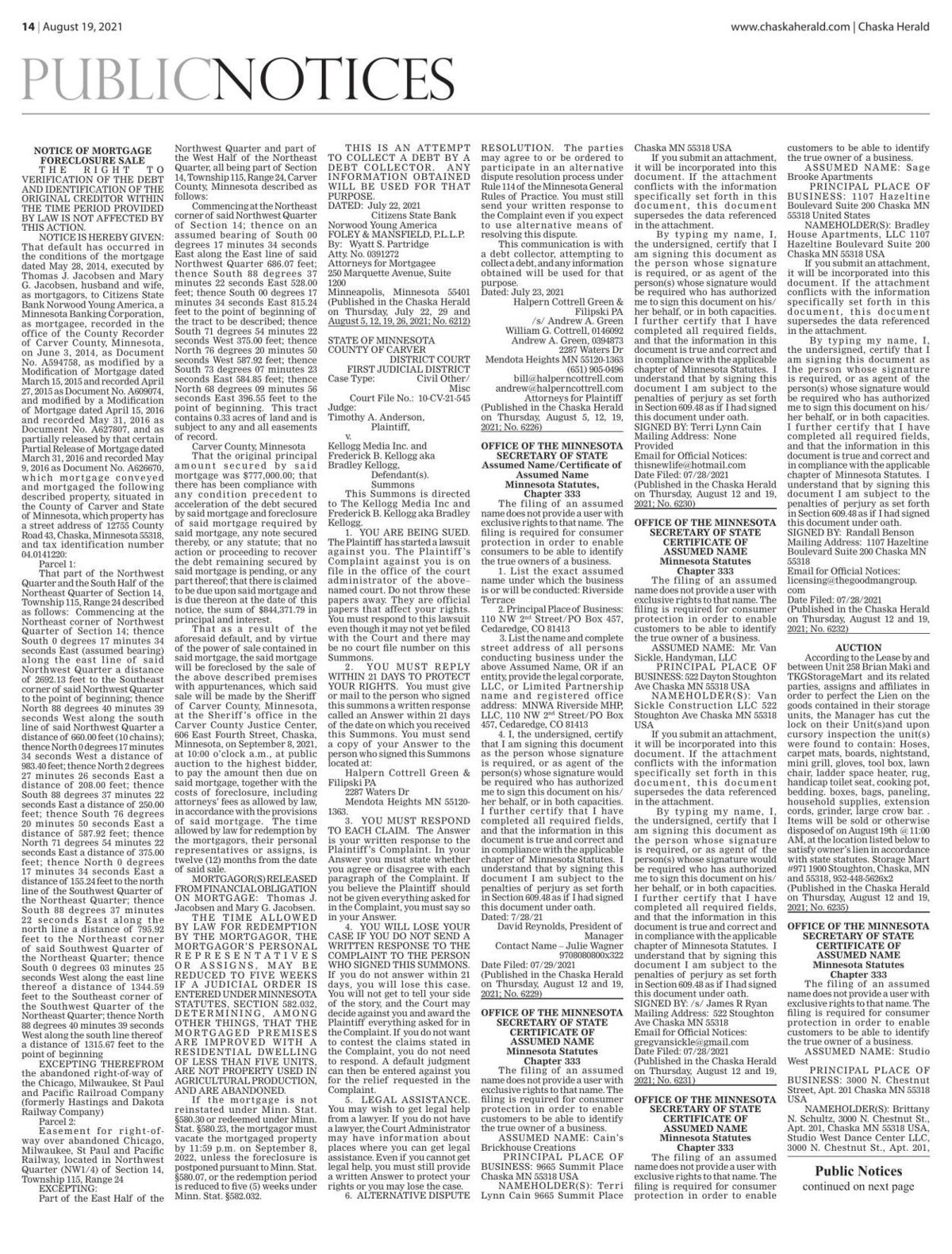 Public Notices from August 19, 2021 Chaska Herald