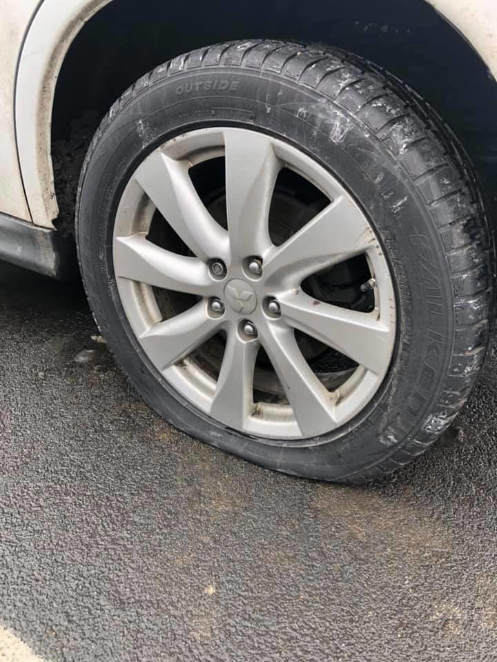 Flat slashed tire