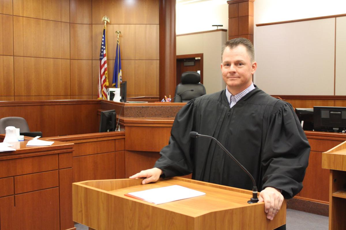 Scott County District Judge Christian Wilton podium