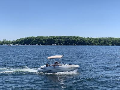 Boat near Big Island, Lake Minnetonka