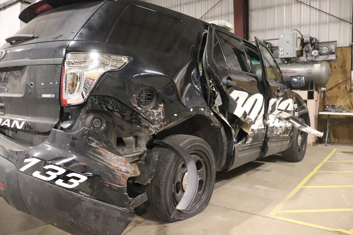 Totaled 2013 Jordan police car