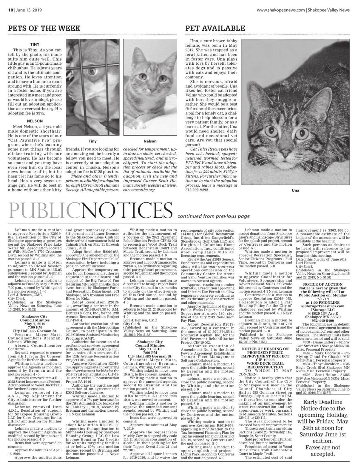 Public notices from the June 15, 2019 Shakopee Valley News