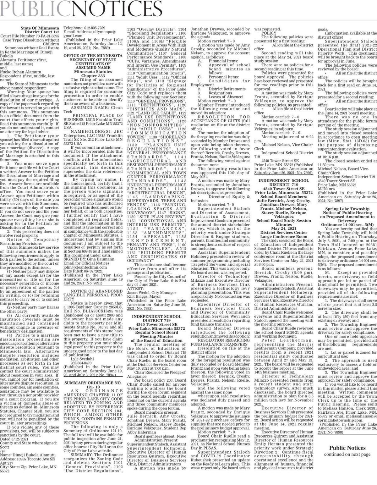 Public Notices from Saturday June 26, 2021 Prior Lake American