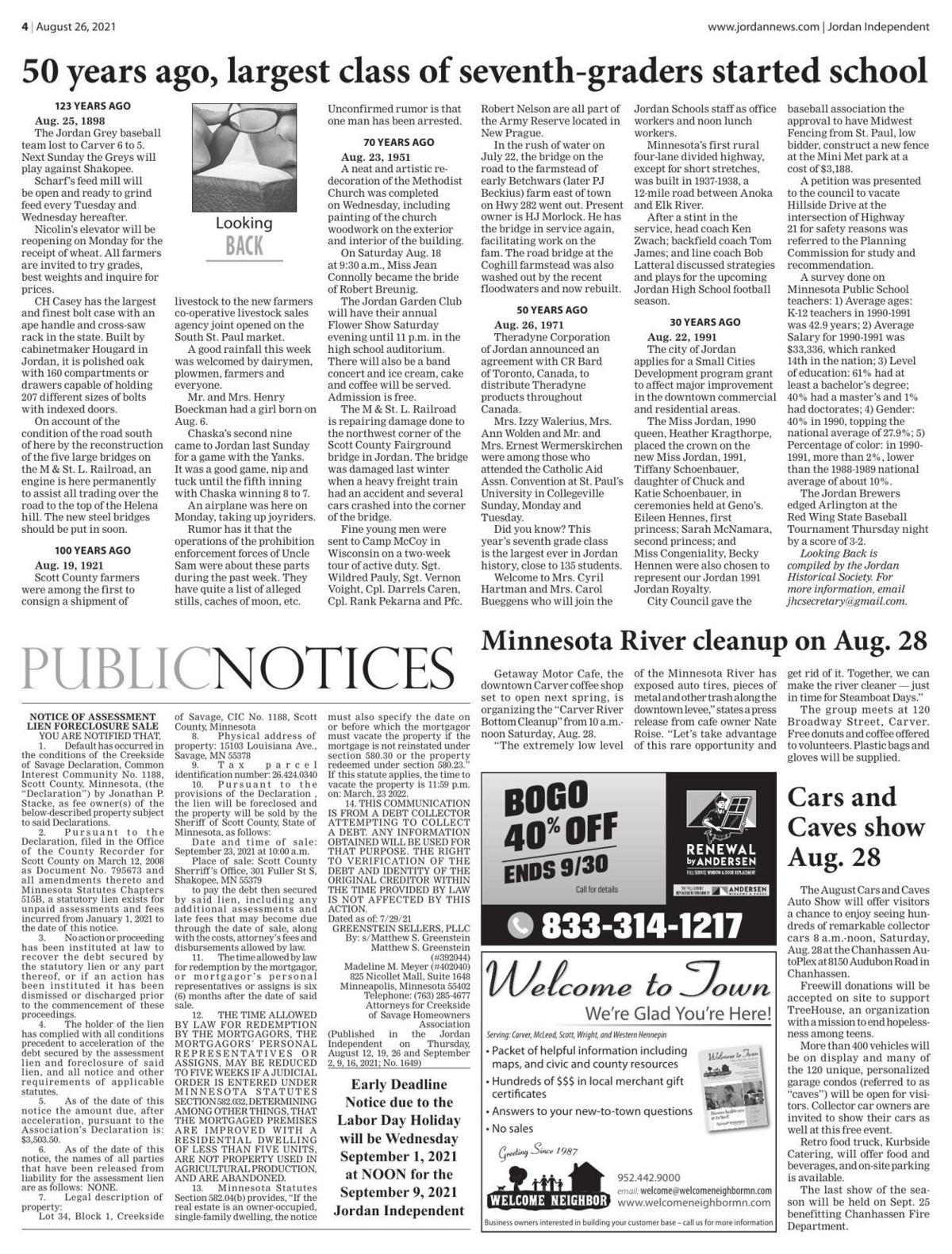 Public notices from the August 26, 2021 Jordan Independent