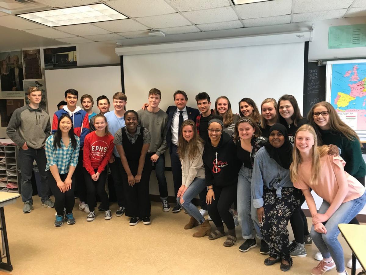 Dean Phillips and Eden Prairie students