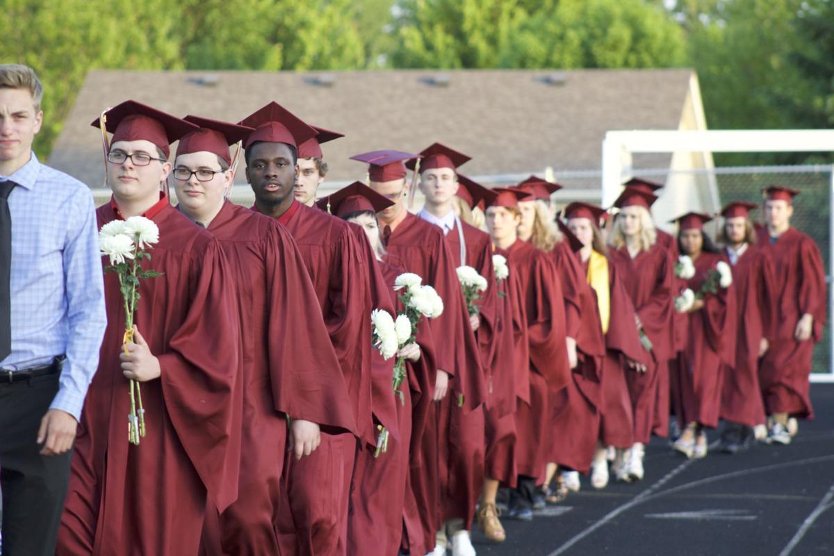 JHS Graduation -- walking in
