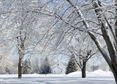 Snowy schoolhouse