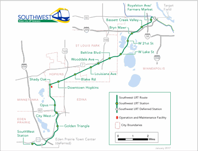 Route map of Southwest Light Rail Transit