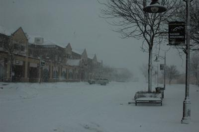 Downtown Savage during blizzard (copy)