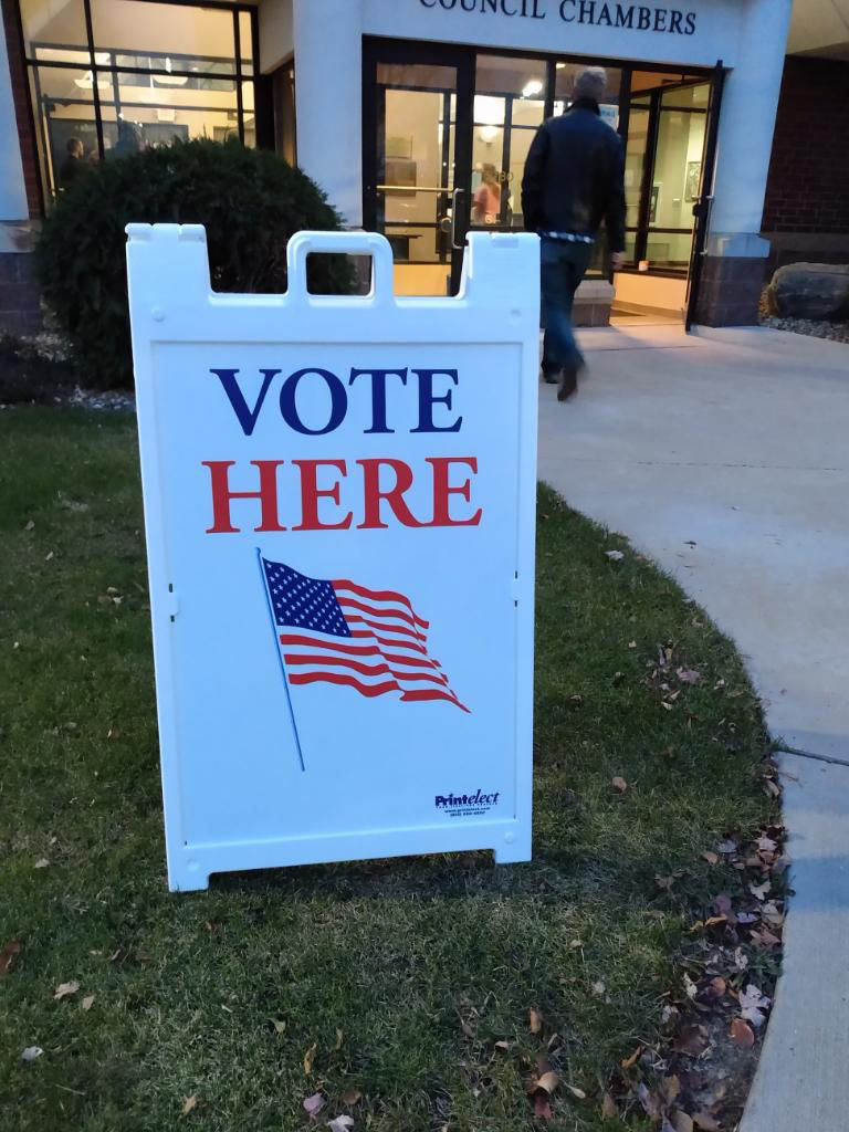 Vote here sign - elections - Orono City Hall