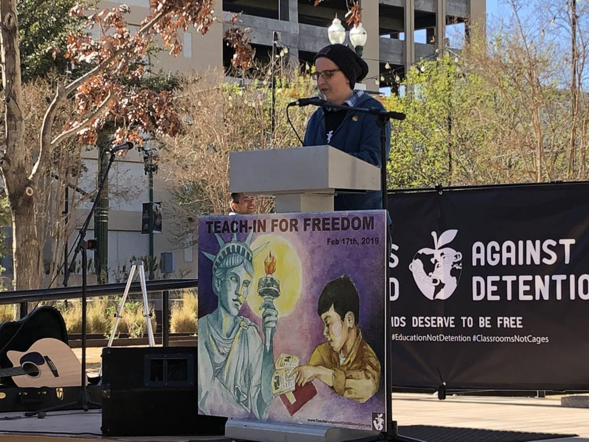 Kelly Holstine speaks at the Teach-In for Freedom