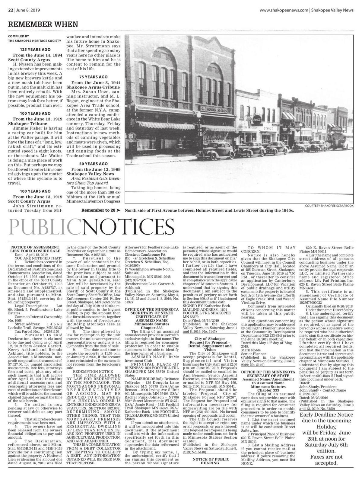 Public notices from the June 8, 2019 Shakopee Valley News