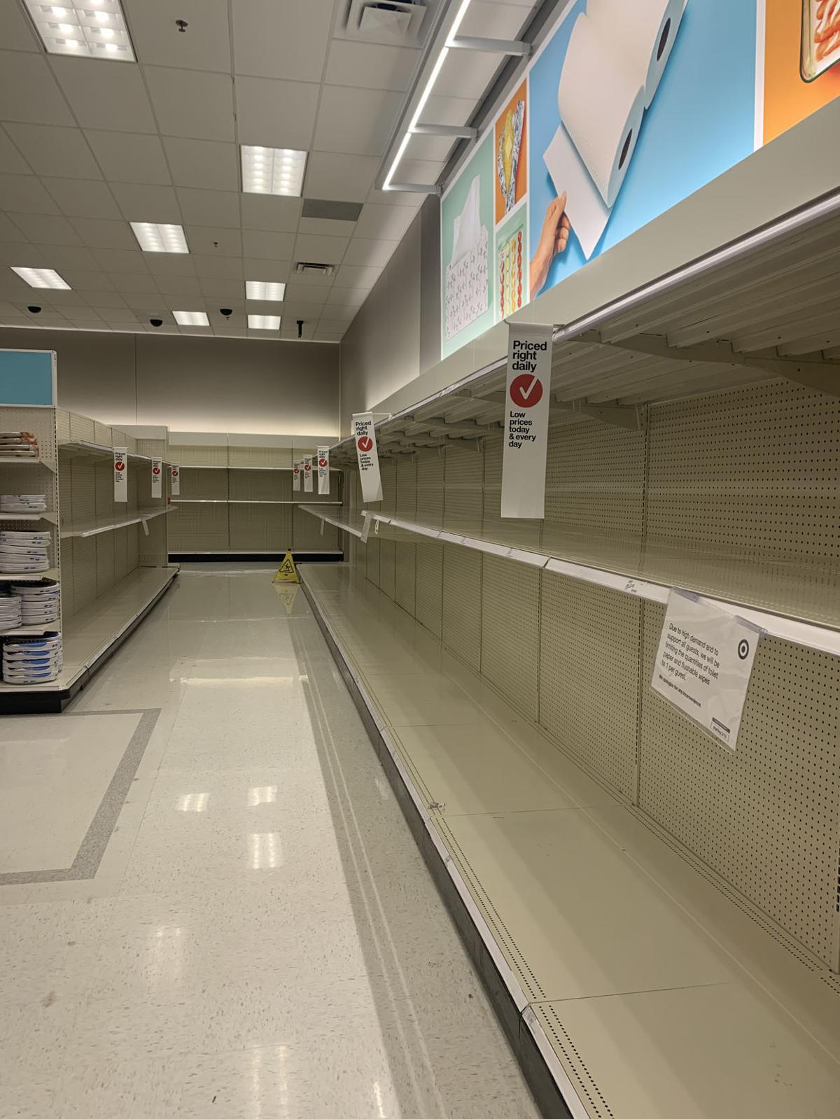 Empty shelves at Target // coronavirus