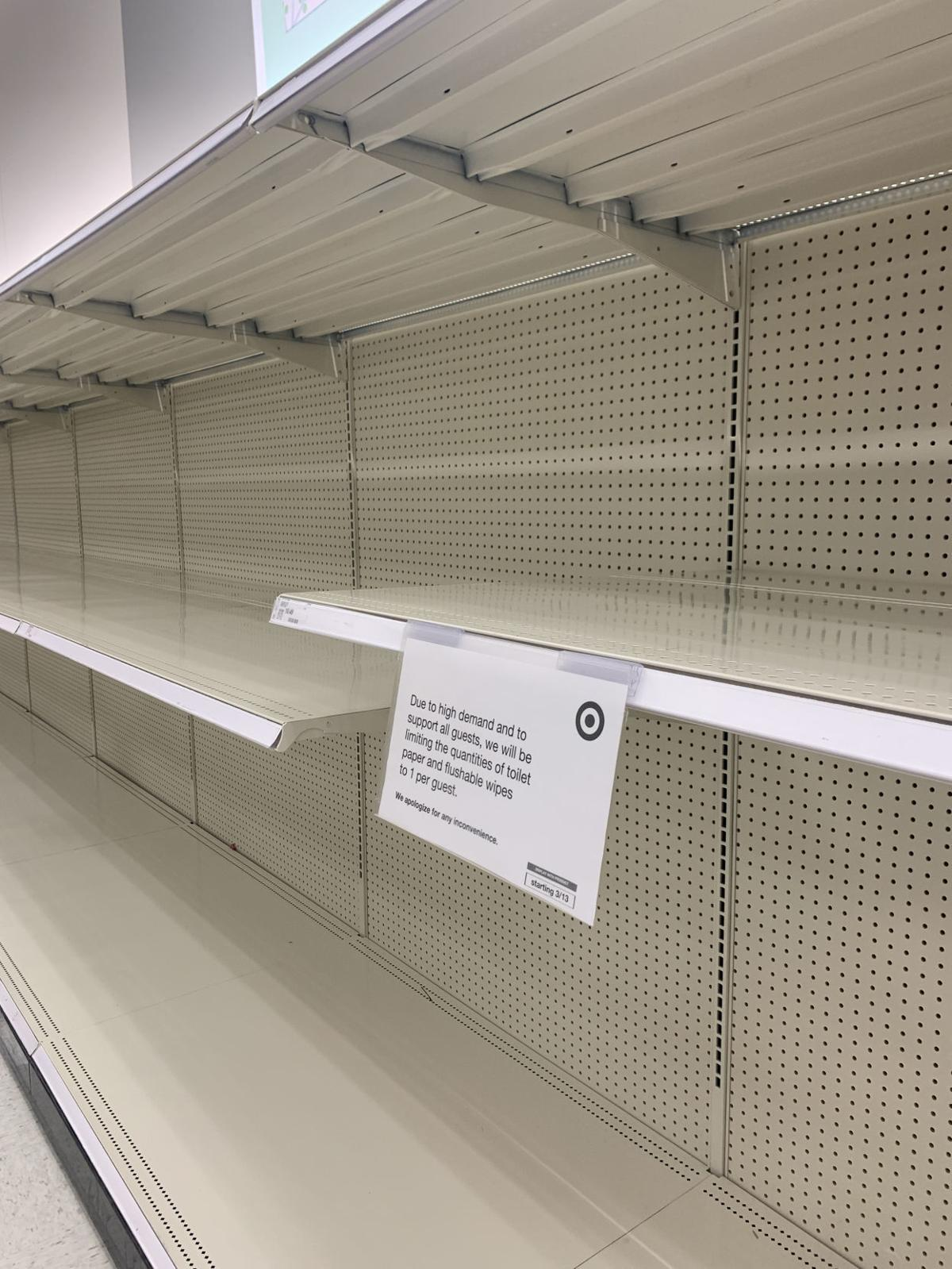 Empty shelves Target // coronavirus