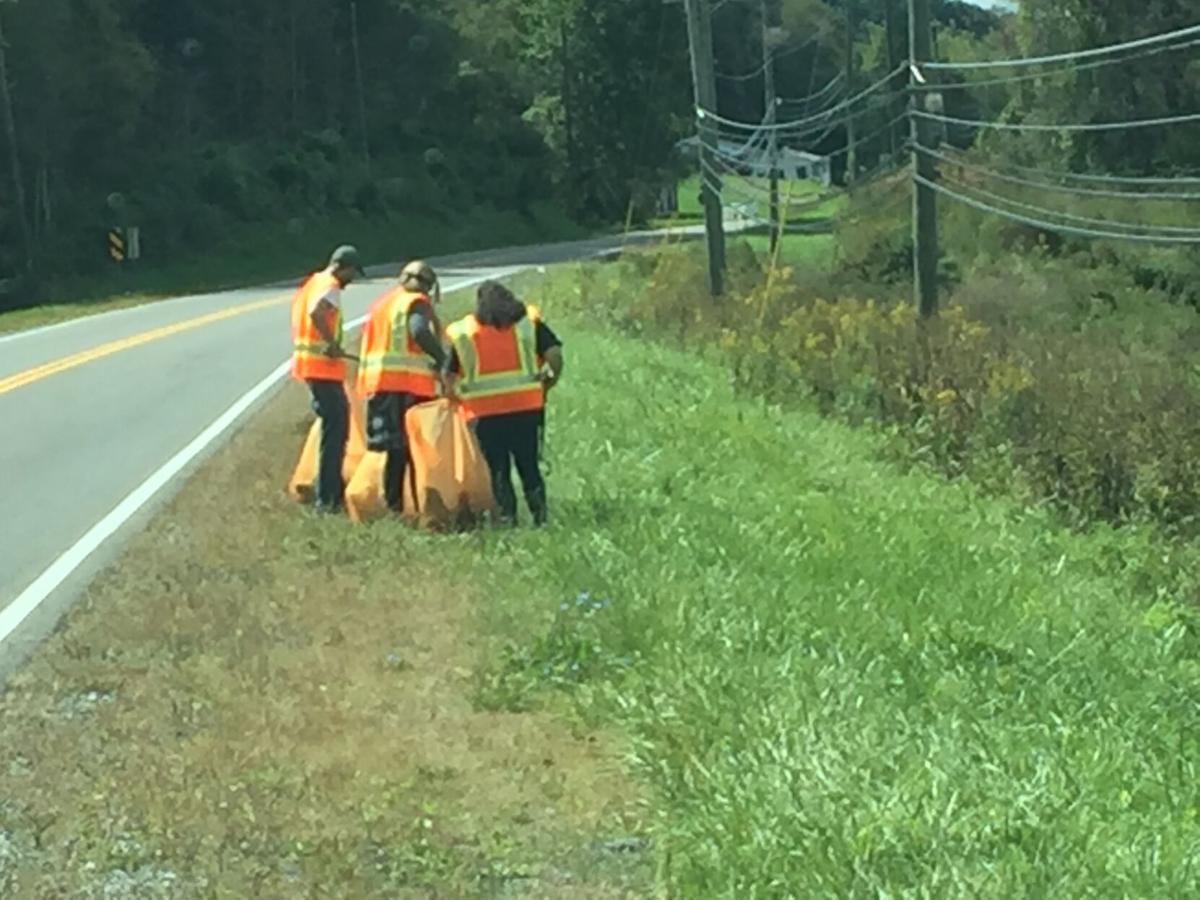 Litter pickup volunteers