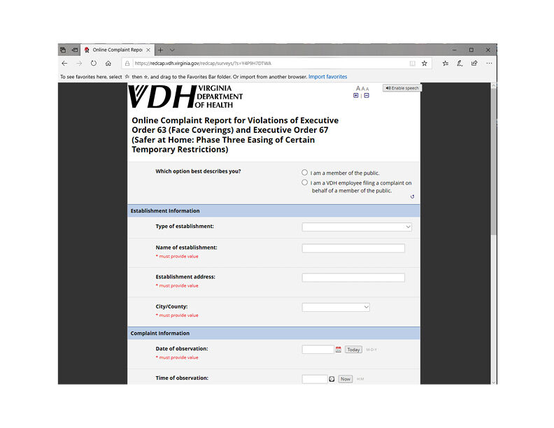 VDH complaint capture