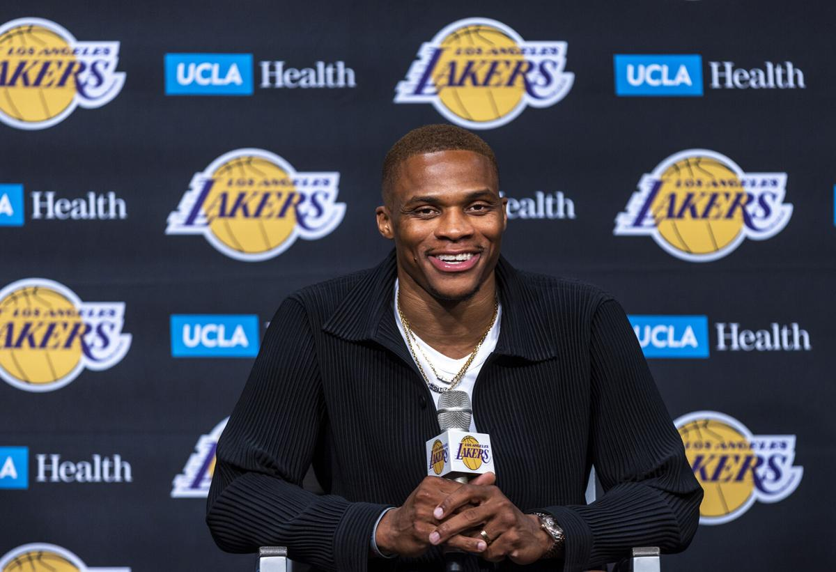 The Los Angeles Lakers' Russell Westbrook speaks after being introduced to the media during a news conference at Staples Center in Los Angeles on Tuesday, Aug. 10, 2021.