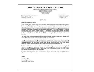 Dennis Carter letter to parents