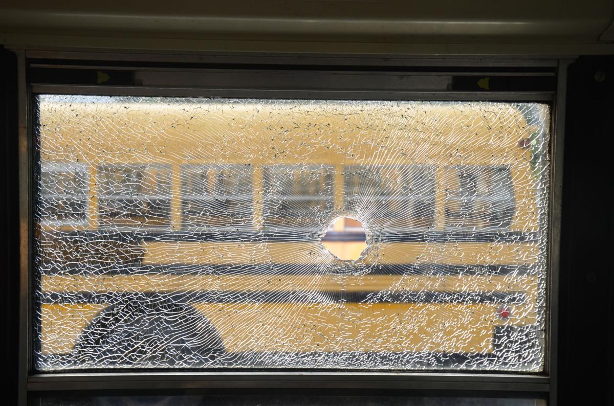broken bus windows