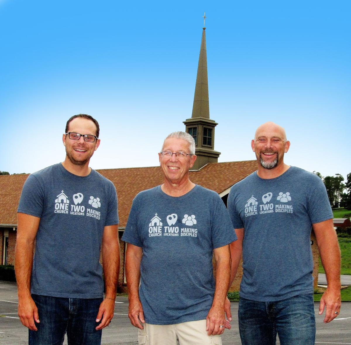 Nick Viers, Ben Repass and Paul Viers stand in front of Woodland Hills  Christian Church-Meadowview, where Nick Viers is the new pastor at the  campus church.
