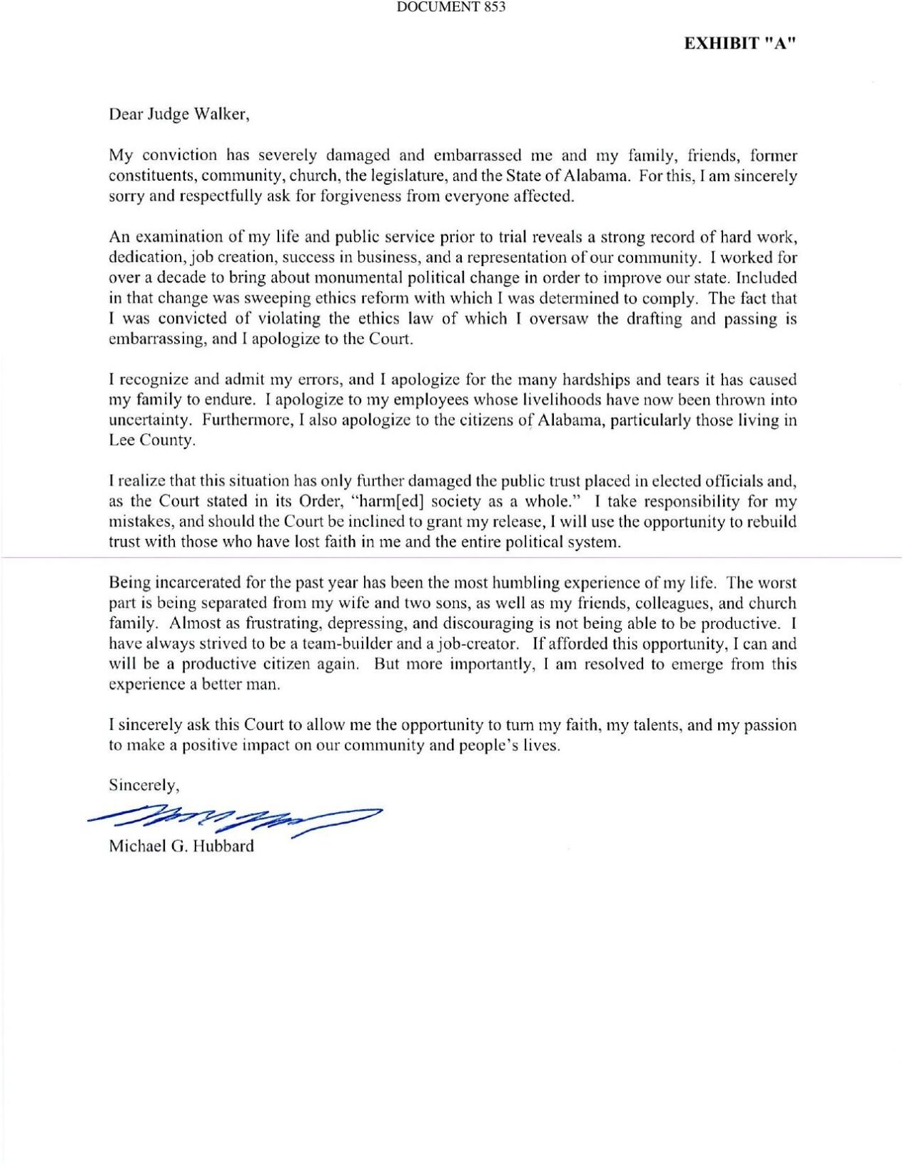 Hubbard's letter to the court