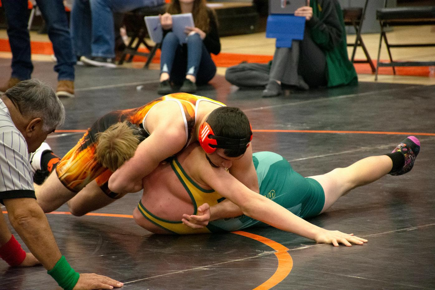 Tigers take third at district wrestling duals