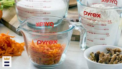 Pyrex measuring cups are great, not only for measuring but also for mixing and pouring in an all-in-one container.