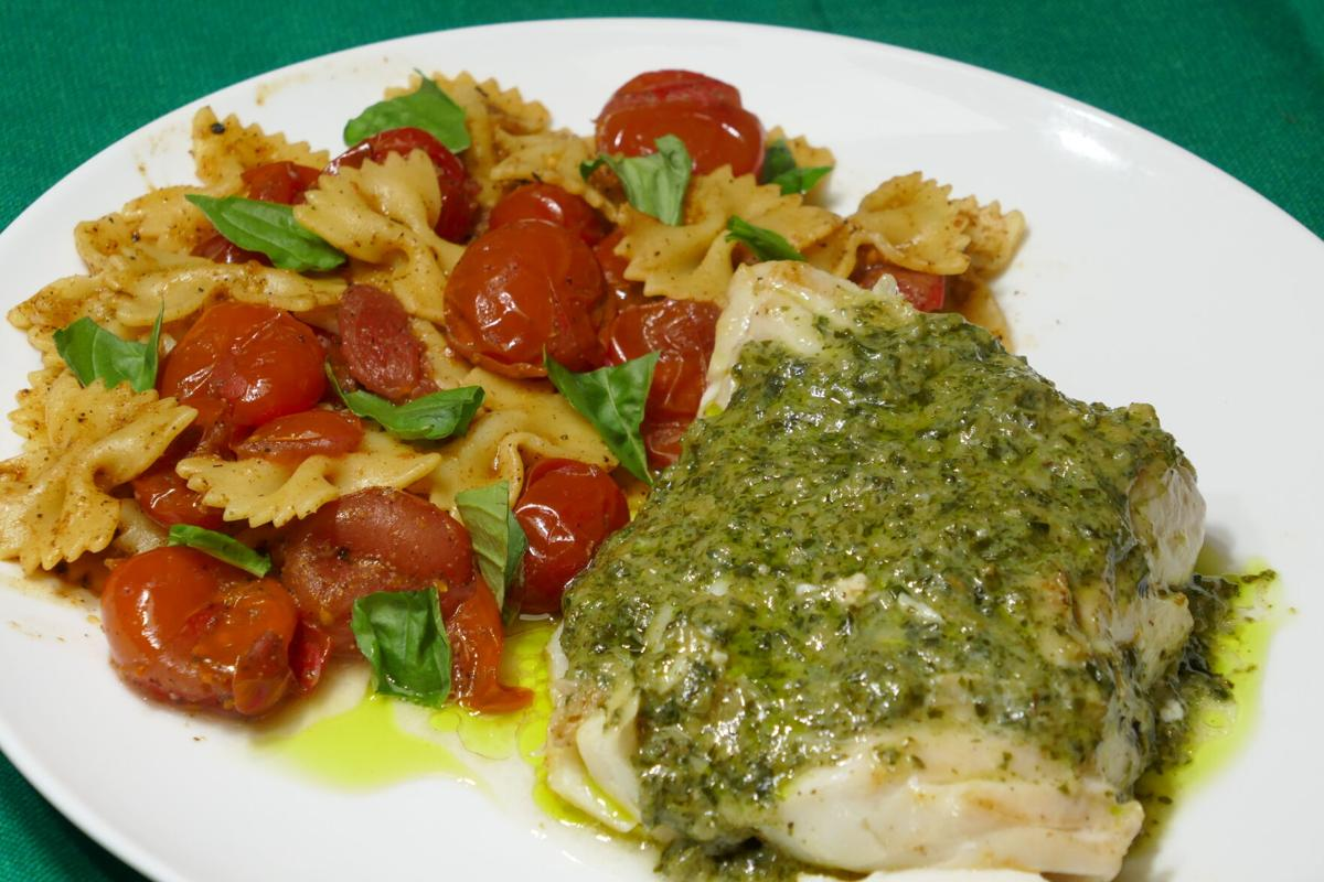 Sauteed Cod with Pesto Sauce and Farfalle with Cherry Tomatoes and Coriander.