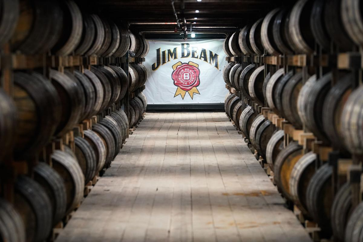 Barrels of bourbon are stacked in a barrel house at the Jim Beam Distillery on February 17, 2020 in Clermont, Kentucky.