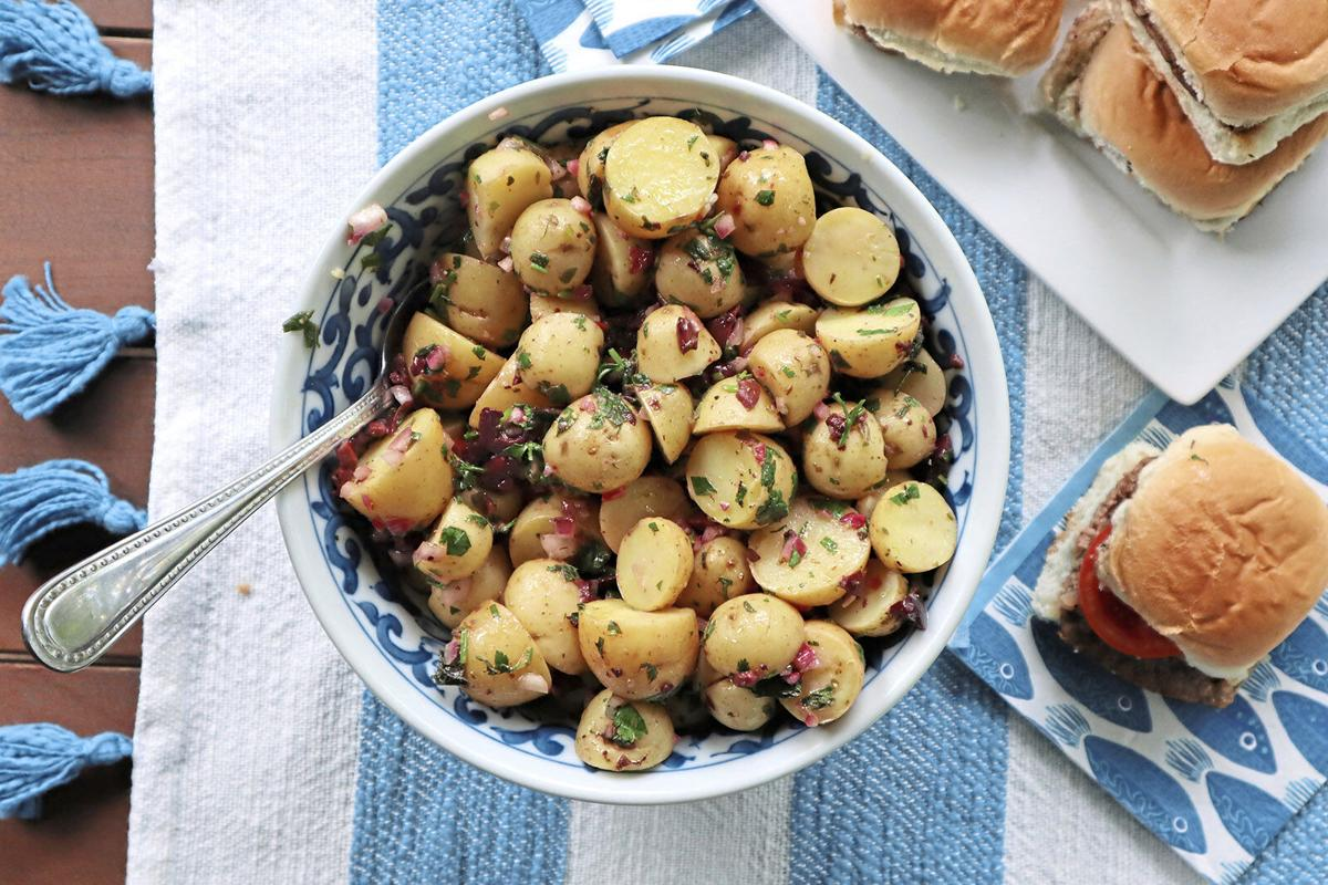 Cypriot-style potato salad made with olives, lemon, mint and olive oil offers a taste of the Mediterranean.
