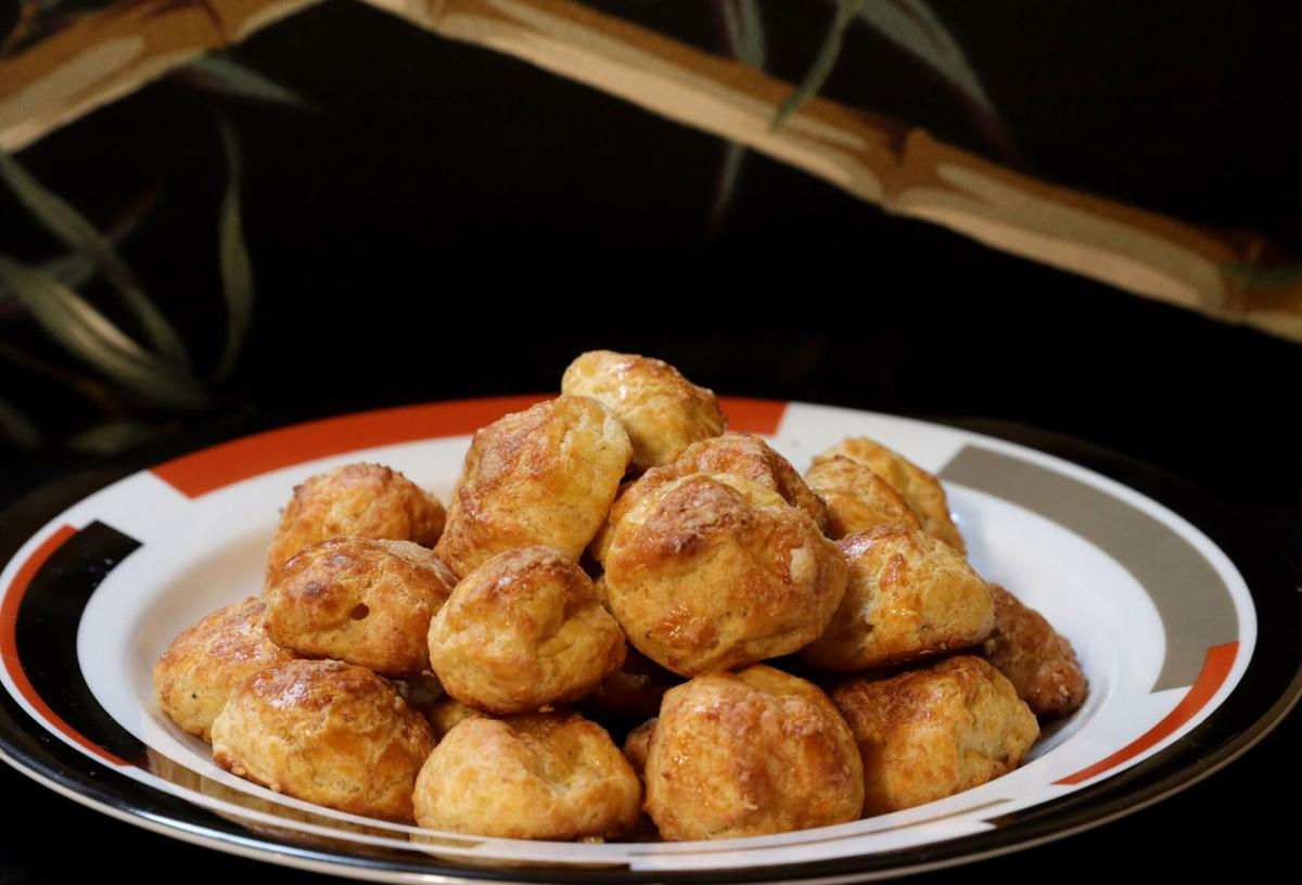 Gougeres, made with pate a choux dough.