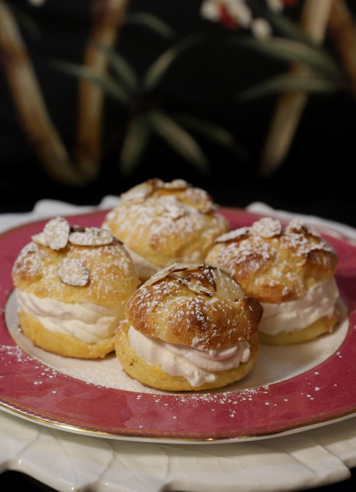 Cream puffs with Chantilly Cream, made with pate a choux dough.