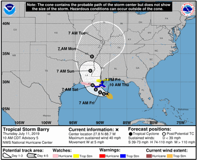 Tropical Storm Barry threatens north-central Gulf Coast, Florida not included