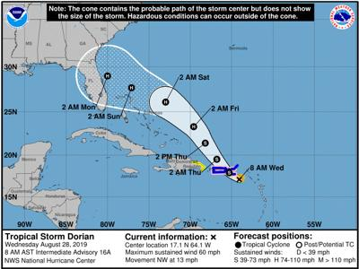 Dorian forecast to strengthen into a hurricane as it takes aim at Florida