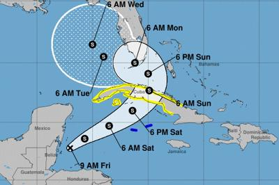 Pinellas County in Tropical Storm Eta's forecast cone