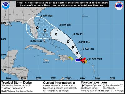 Dorian forecast to become a major hurricane by Sunday morning