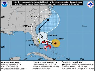 Pinellas outside Dorian's forecast cone, residents asked to stay vigilant