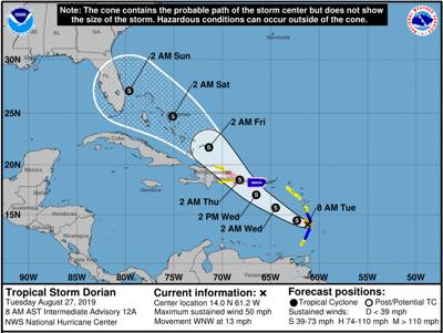 Pinellas County in Tropical Storm Dorian's long-range forecast cone