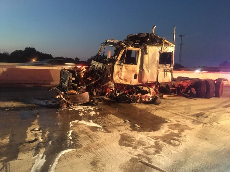 I-35 wrecked truck
